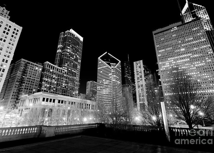 America Greeting Card featuring the photograph Chicago Downtown At Night by Paul Velgos