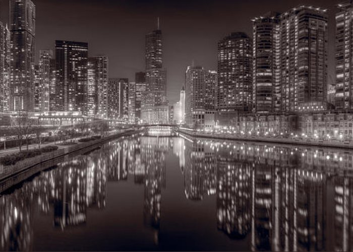 Chicago Greeting Card featuring the photograph Chicago River East Bw by Steve Gadomski