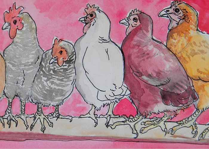 Hens Greeting Card featuring the painting Chickens by Jenn Cunningham