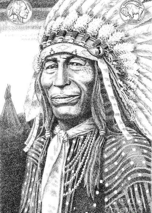 Jim Bridger Greeting Card featuring the drawing Chief-iron-tail by Gordon Punt