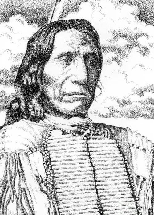 Jim Bridger Greeting Card featuring the drawing Chief-red-cloud by Gordon Punt