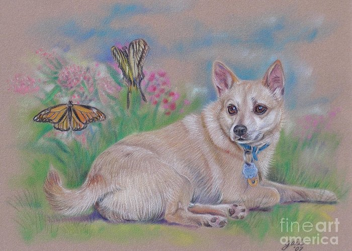 Chihuahua Greeting Card featuring the pastel Chihuahua With Butterflies by Gail Dolphin