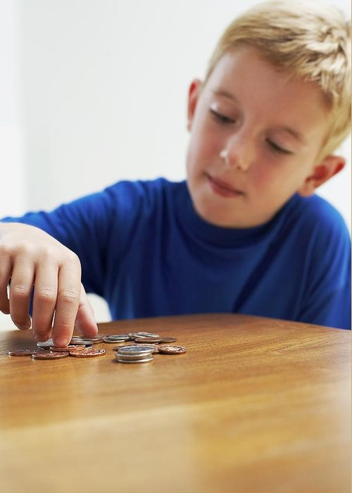 Money Greeting Card featuring the photograph Child With Loose Change by Ian Boddy