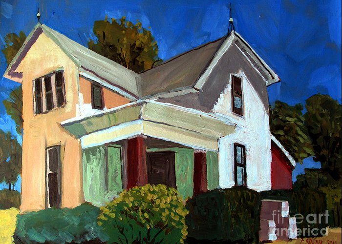 Farm Greeting Card featuring the painting Childhood Home Plein Air by Charlie Spear
