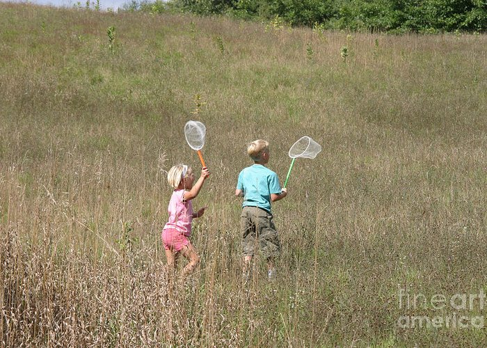Science Greeting Card featuring the photograph Children Collecting Insects by Ted Kinsman
