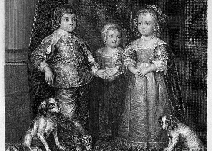 1635 Greeting Card featuring the photograph Children Of Charles I by Granger
