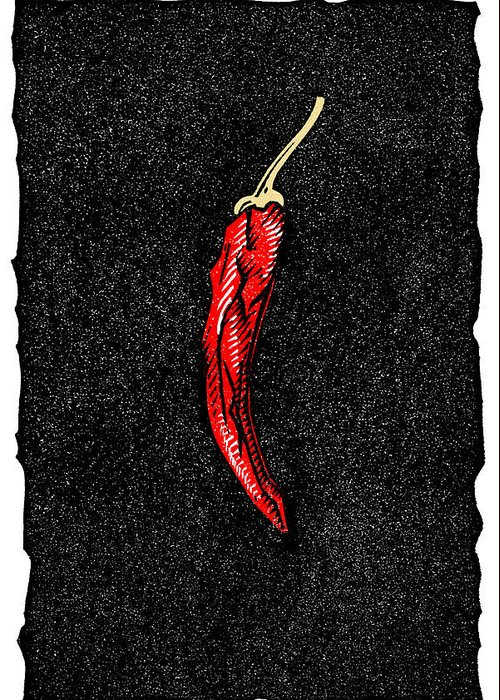 Capsicum Greeting Card featuring the photograph Chilli Pepper, Woodcut by Gary Hincks
