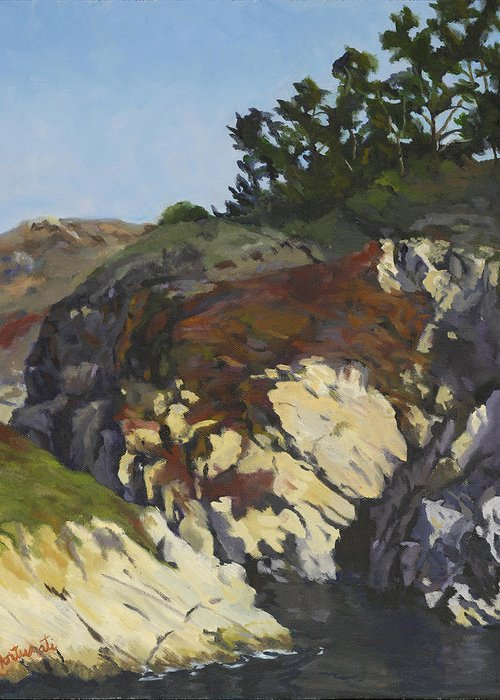 China Cove Greeting Card featuring the painting China Cove Cliffs by Marian Fortunati