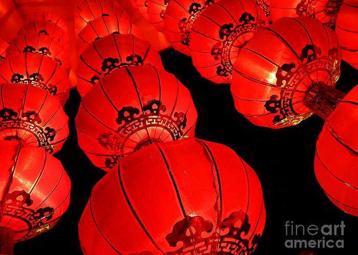Asia Greeting Card featuring the photograph Chinese Lanterns 3 by Xueling Zou