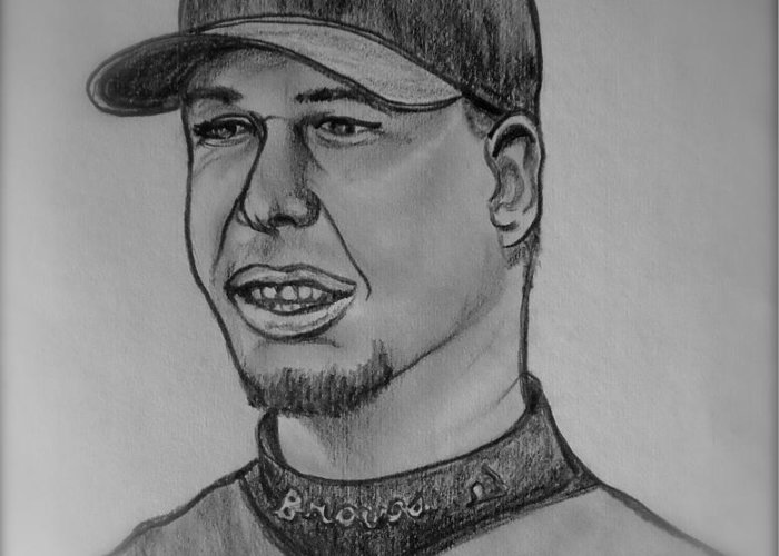 Chipper Jones Greeting Card featuring the drawing Chipper Jones by Pete Maier