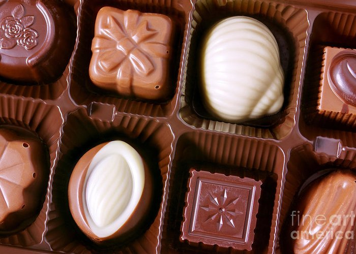 Assorted Greeting Card featuring the photograph Chocolates Closeup by Carlos Caetano
