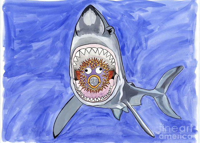 Shark Greeting Card featuring the painting Chomp by Erin McNutt