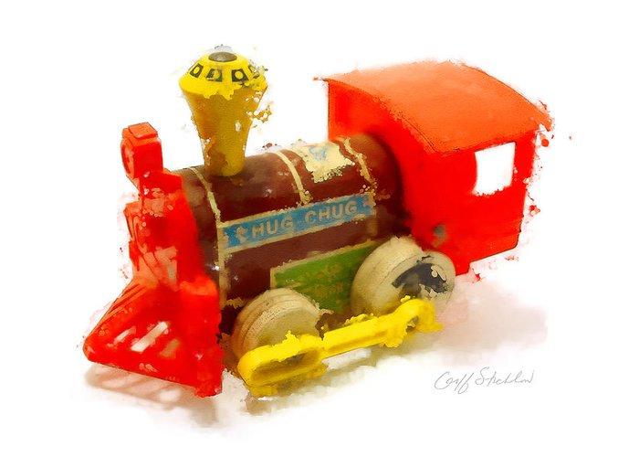 Fisher Price Choo-choo Toy Blockout Train Engine Greeting Card featuring the digital art Choo-choo by Geoff Strehlow