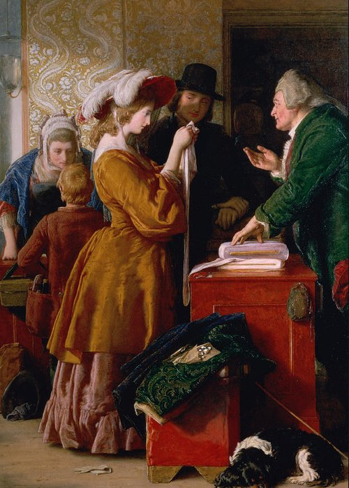 Choosing The Wedding Gown Greeting Card featuring the painting Choosing The Wedding Gown From Chapter 1 Of 'the Vicar Of Wakefield' by William Mulready