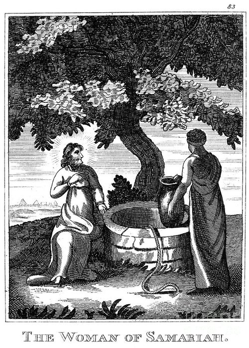 1800 Greeting Card featuring the photograph Christ & Woman Of Samaria by Granger