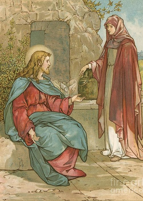 Bible; Jesus Christ; Woman Of Samaria; Well; Conversation; Talking Greeting Card featuring the painting Christ And The Woman Of Samaria by John Lawson