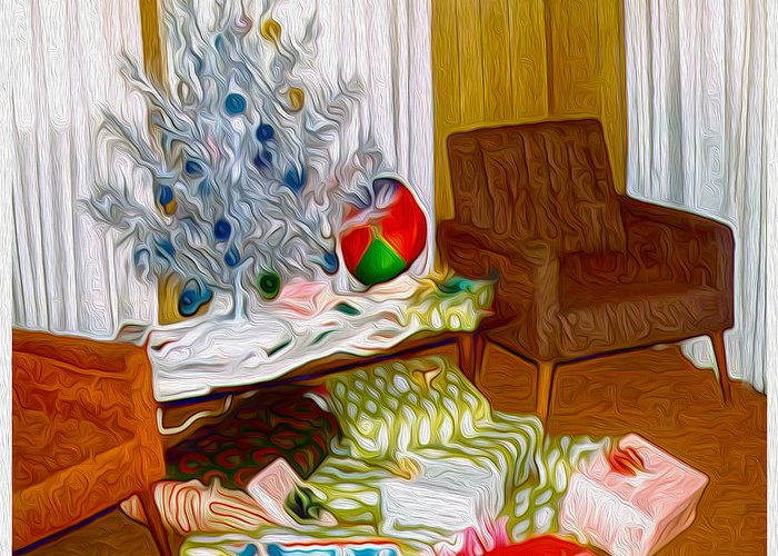 Retro Images Greeting Card featuring the painting Christmas 1969 by Gregory Dyer