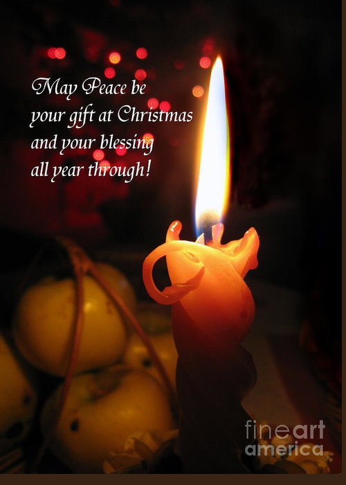 Christmas Candle Greeting Card featuring the photograph Christmas Candle Peace Greeting by Ausra Huntington nee Paulauskaite