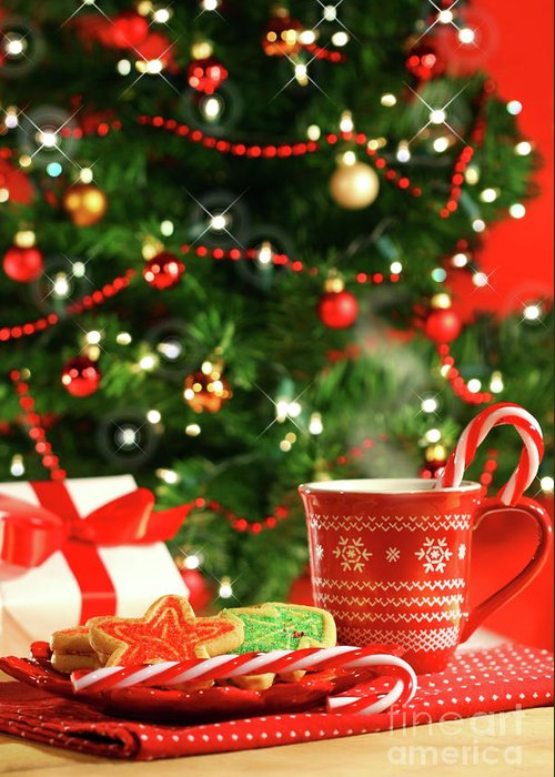 Child Greeting Card featuring the photograph Christmas Cookies Near The Tree by Sandra Cunningham