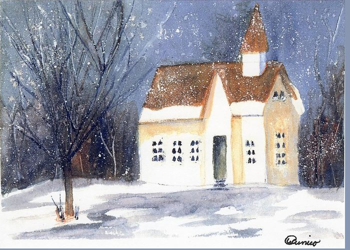 Snow Greeting Card featuring the painting Christmas Eve by Wendy Cunico
