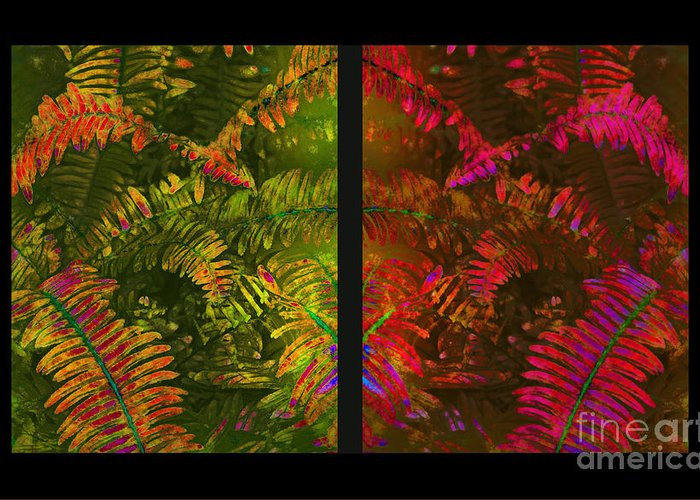 Christmas Greeting Card featuring the photograph Christmas Fern Diptych by Judi Bagwell