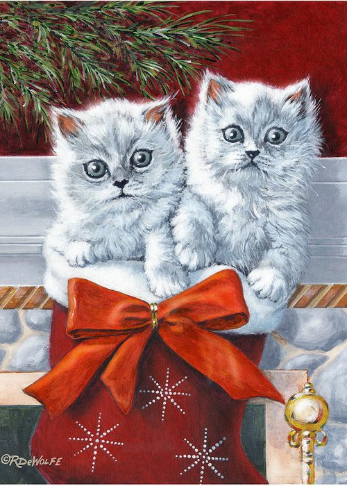 Christmas Greeting Card featuring the painting Christmas Kittens by Richard De Wolfe