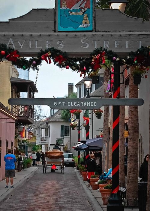 St Augustine Greeting Card featuring the photograph Christmas On Aviles Street by DigiArt Diaries by Vicky B Fuller