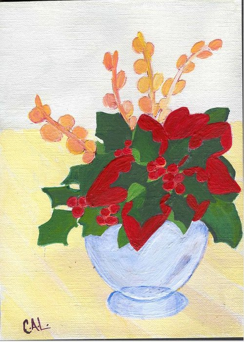 Christmas Greeting Card featuring the painting Christmas Poinsetta by Carol Lunsford