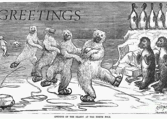 1875 Greeting Card featuring the photograph Christmas: Polar Bears by Granger