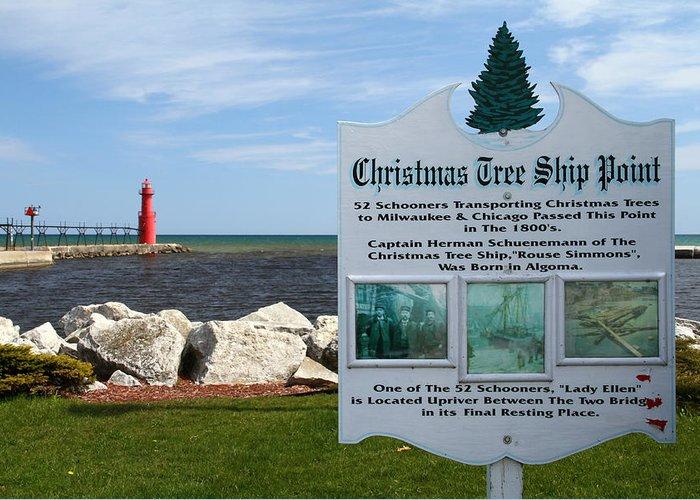 Algoma Greeting Card featuring the photograph Christmas Tree Ship Point At Algoma Harbor by Mark J Seefeldt