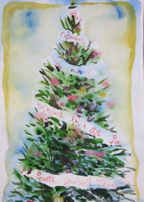 Tree Greeting Card featuring the painting Christmas Tree by Tilly Strauss