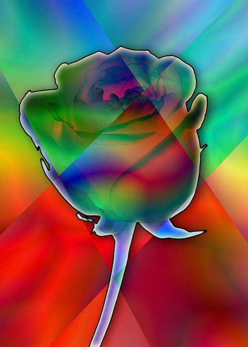 Imagination Greeting Card featuring the digital art Chromatic Rose by Anthony Caruso