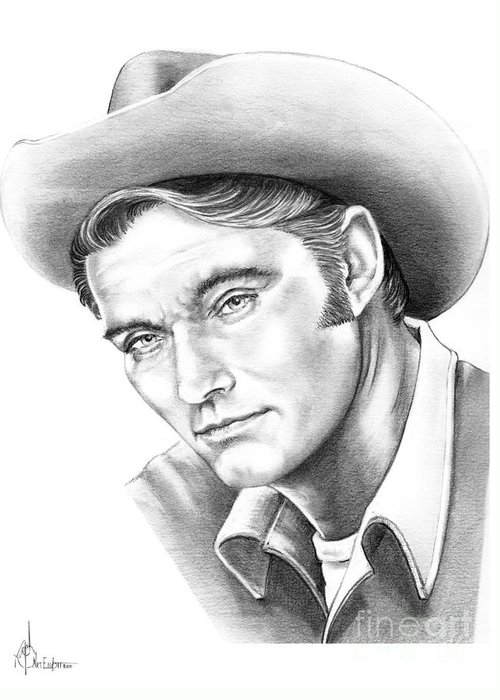 Drawing Greeting Card featuring the drawing Chuck Conners-rifleman by Murphy Elliott