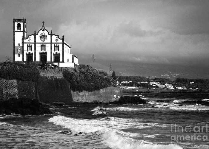 Inspirational Greeting Card featuring the photograph Church By The Sea by Gaspar Avila