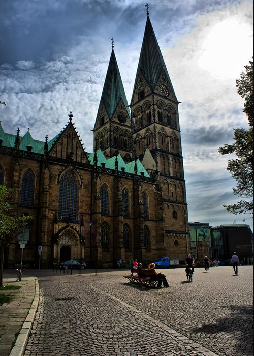 Bremen Greeting Card featuring the photograph Church in Bremen Germany 2 by Edward Myers