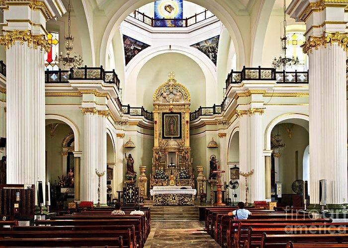 Church Greeting Card featuring the photograph Church Interior In Puerto Vallarta by Elena Elisseeva