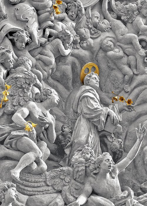 St Greeting Card featuring the photograph Church Of St James The Greater Prague - Stucco Bas-relief by Christine Till