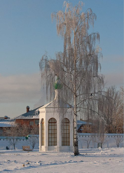 Church Greeting Card featuring the photograph Church On A Frosty Day by Mikhail Pankov