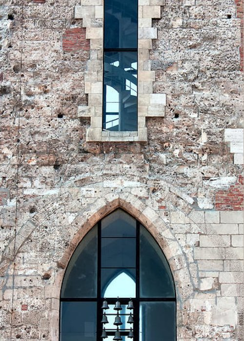 St Mary Magdalene Tower Greeting Card featuring the photograph Church Windows by Shirley Mitchell