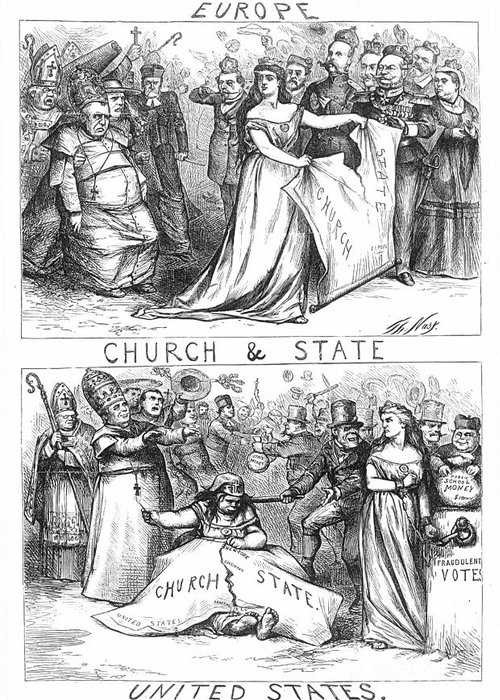 1870 Greeting Card featuring the photograph Church/state Cartoon, 1870 by Granger