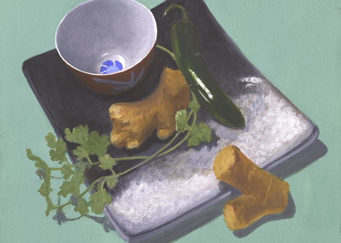 A Rectangular Japanese Plate With A Sake Cup And Several Sprigs Of Cilantro Greeting Card featuring the painting Cilantro And Garlic by Meredith Dytch