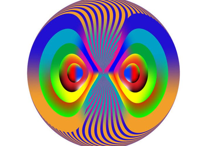 Multi-colored Greeting Card featuring the digital art Circle Study No. 28 by Alan Bennington