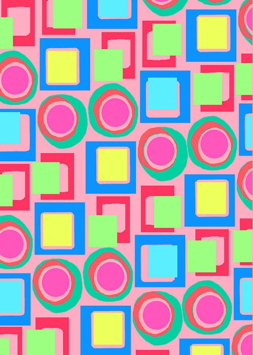 Louisa Greeting Card featuring the digital art Circles And Squares by Louisa Knight