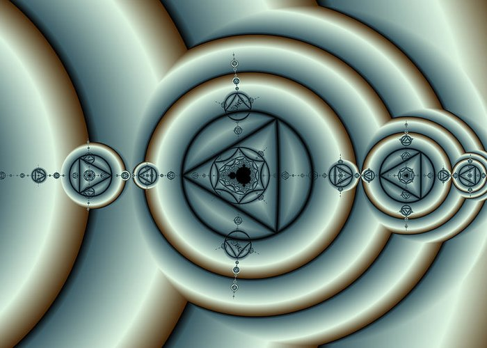 Fractal Greeting Card featuring the digital art Circles And Triangles by Mark Eggleston