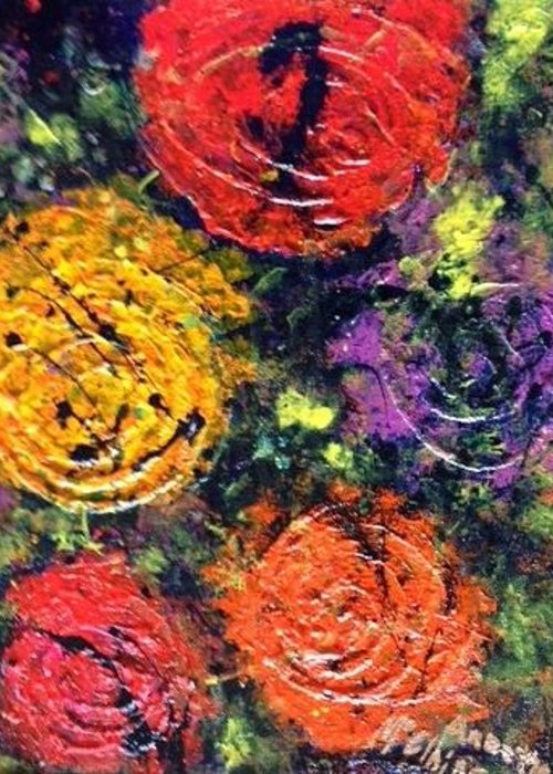 Women Greeting Card featuring the painting Circles Of Hope by Annette McElhiney