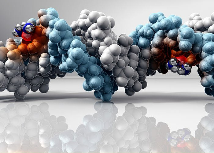 Dna Greeting Card featuring the photograph Cisplatin Cancer Drug And Dna Molecule by Phantatomix