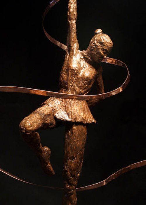 Olympic Greeting Card featuring the sculpture Citius Altius Fortius Olympic Art Gymnast Over Black by Adam Long