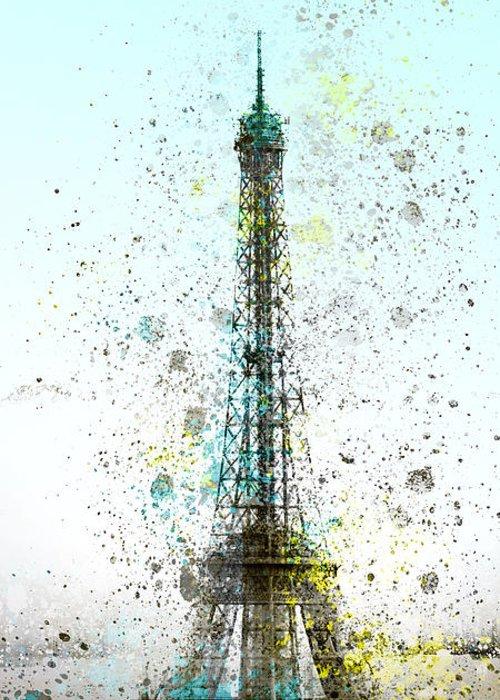 Europe Greeting Card featuring the digital art City-art Paris Eiffel Tower II by Melanie Viola