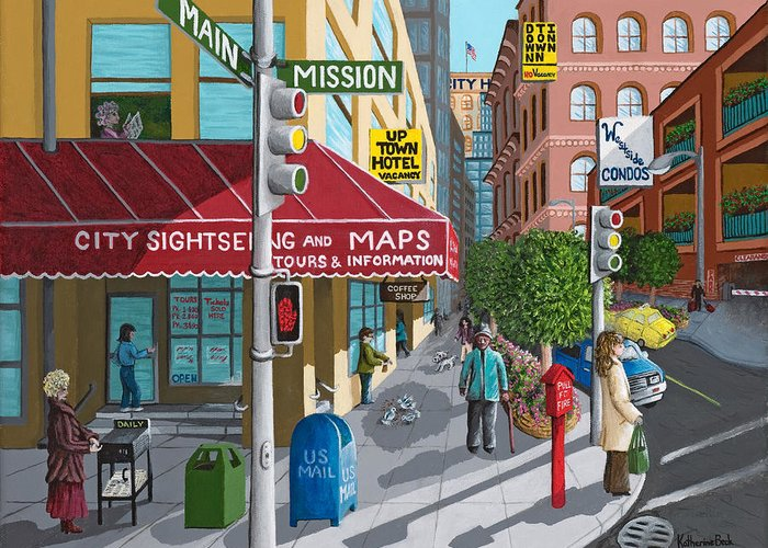 Print Greeting Card featuring the painting City Corner by Katherine Young-Beck