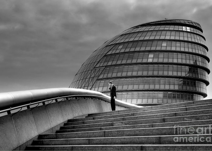 Black And White Greeting Card featuring the photograph City Hall - London by Bryan Pereira